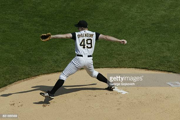 Pitcher Ross Ohlendorf of the Pittsburgh Pirates pitches against the Houston Astros during a game at PNC Park on September 21 2008 in Pittsburgh...