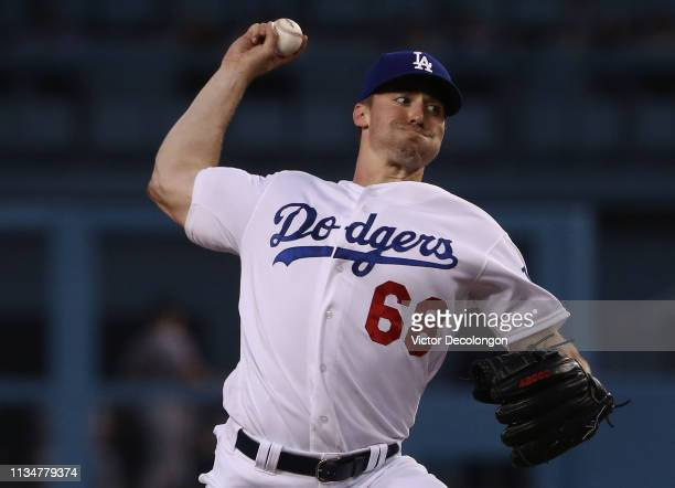 Pitcher Ross Stripling of the Los Angeles Dodgers pitches in the first inning of the MLB game against the San Francisco Giants at Dodger Stadium on...