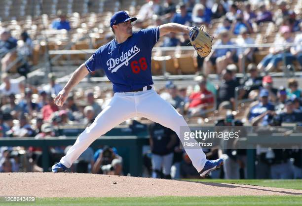 Pitcher Ross Stripling of the Los Angeles Dodgers throws against the Chicago White Sox during a Cactus League spring training game at Camelback Ranch...