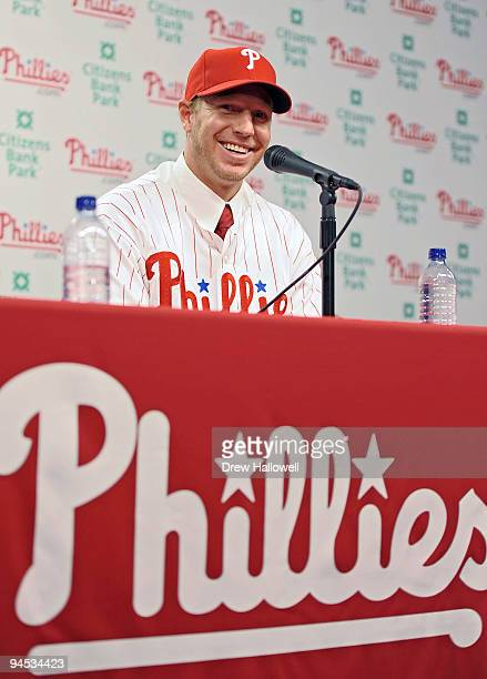 Pitcher Roy Halladay answers questions from the media after signing with the Philadelphia Phillies on December 16 2009 at Citizens Bank Park in...