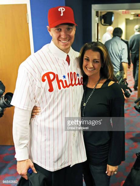 Pitcher Roy Halladay of the Philadelphia Phillies and his wife Brandy pose for a photograph on December 16 2009 at Citizens Bank Park in Philadelphia...