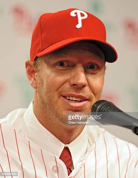 Pitcher Roy Halladay of the Philadelphia Phillies answers questions from the media after signing with the team on December 16 2009 at Citizens Bank...