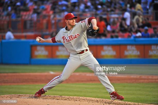 Pitcher Roy Halladay of the Philadelphia Phillies pitches during his perfect game against the Florida Marlins in Sun Life Stadium on May 29 2010 in...