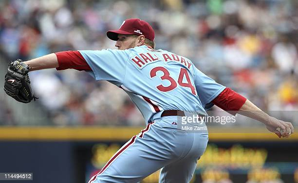 Pitcher Roy Halladay of the Philadelphia Phillies throws a pitch during the MLB Civil Rights Game against the Atlanta Braves on Sunday May 15 2011 at...