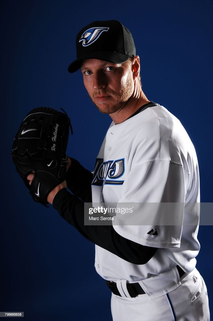 Pitcher Roy Halladay of the Toronto Blue Jays poses for photos on media day at the Bobboy Mattix Training Center during spring training February 22, 2008 in Dunedin, Florida.
