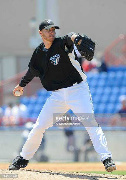 Pitcher Roy Halladay of the Toronto Blue Jays starts against the Tampa Bay Rays at Knology Park March 25 2008 in Dunedin Florida The Rays won 10 0