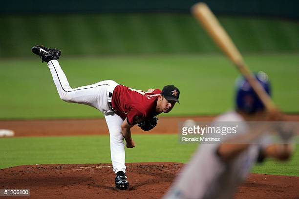 Pitcher Roy Oswalt of the Houston Astros throws against the Chicago Cubs on August 22 2004 at Minute Maid Park in Houston Texas