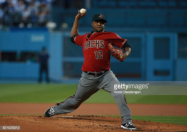 Pitcher Rubby De La Rosa of the Arizona Diamondbacks pitches in the first inning during the MLB game against Los Angeles Dodgers at Dodger Stadium on...