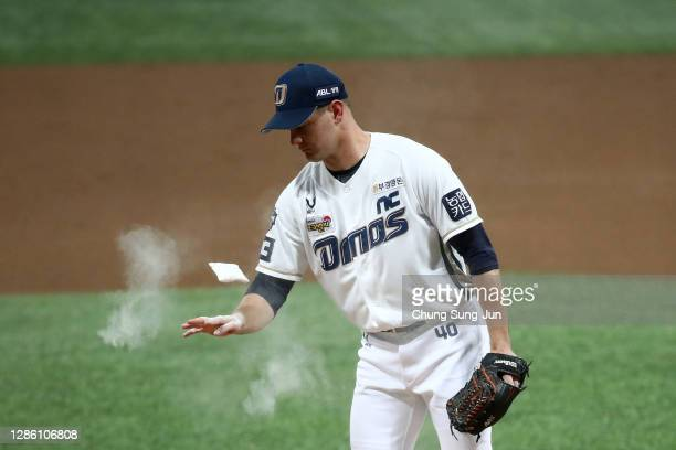 Pitcher Rucinski Drew of NC Dinos in the top of first inning during the Korean Series Game One between Doosan Bears and NC Dinos at the Gocheok...