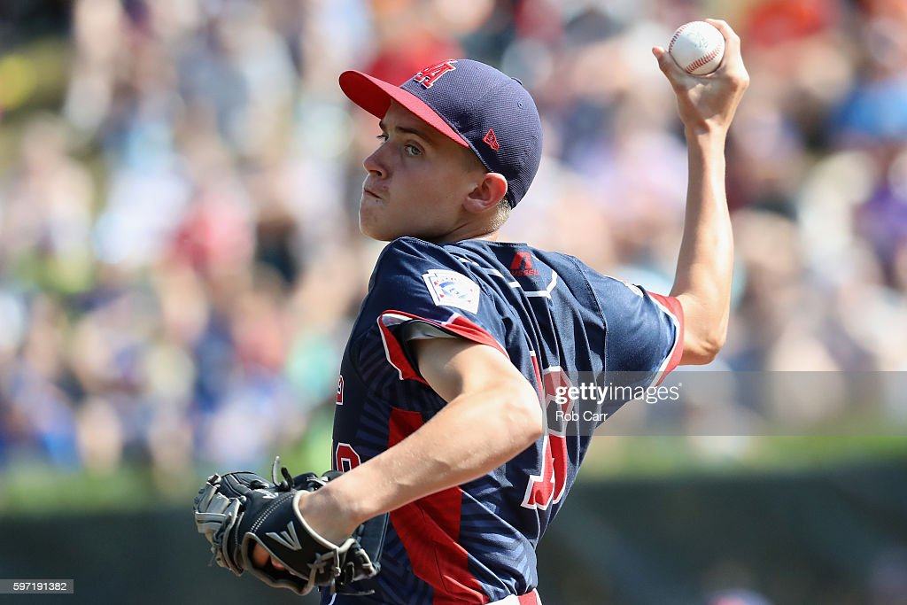 Pitcher Ryan Harlost #19 of the Mid-Atlantic Team from New York throws to a batter from the Asia-Pacific team from South Korea in the first inning during the Little League World Series Championship Game at Lamade Stadium on August 28, 2016 in South Williamsport, Pennsylvania.
