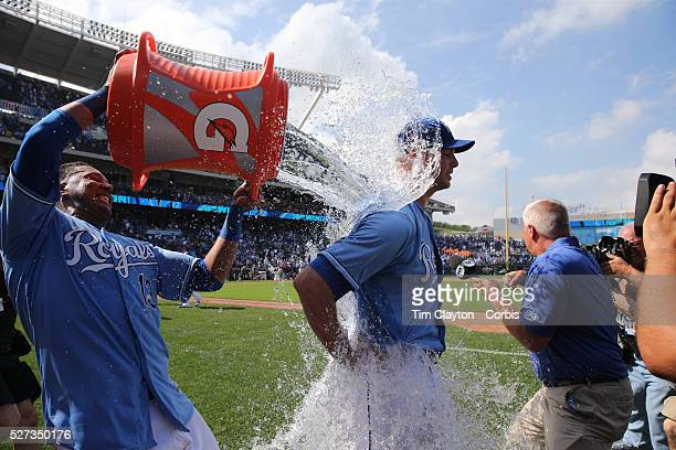Pitcher Ryan Madson Kansas City Royals is drenched by catcher Salvador Perez after the Kansas City Royals Vs Chicago White Sox Kauffman Stadium...