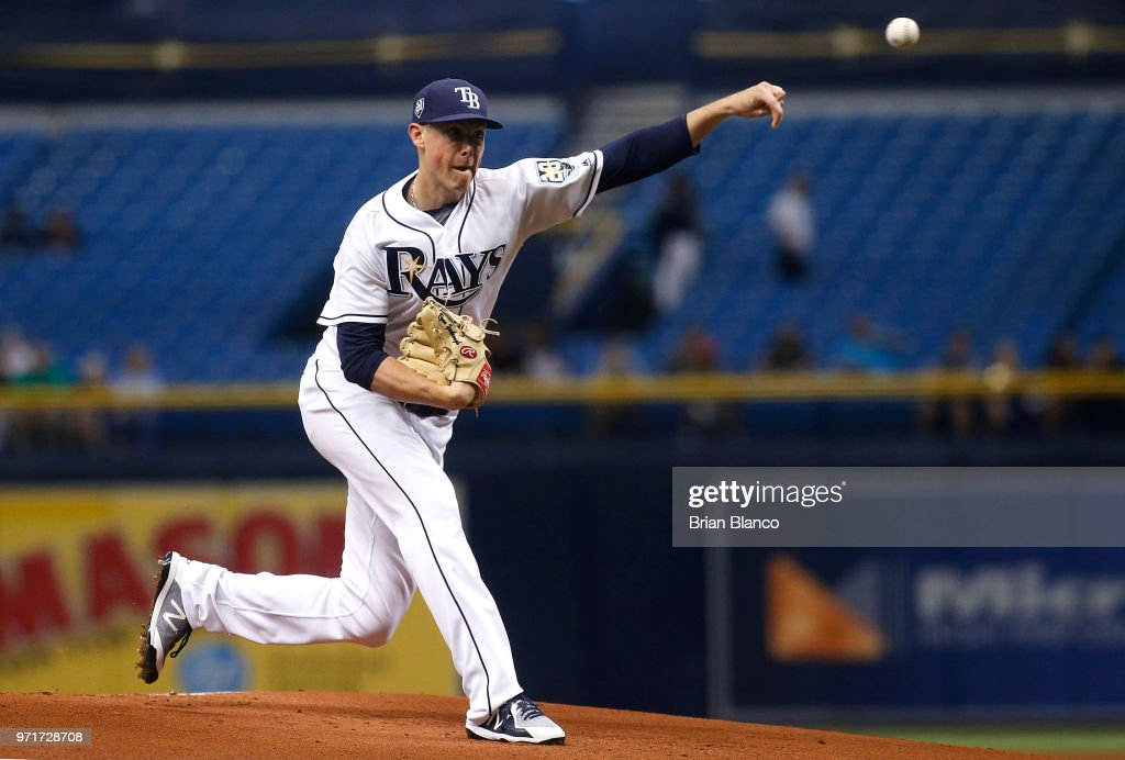 Pitcher Ryan Yarbrough #48 of the Tampa Bay Rays pitches during the first inning of a game against the Toronto Blue Jays on June 11, 2018 at Tropicana Field in St. Petersburg, Florida.