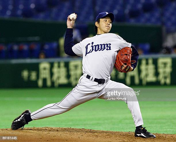 Pitcher Ryoma Nogami of Saitama Seibu Lions throws a pitch during a friendly match between China and Saitama Seibu Lions at Tokyo Dome on March 1...