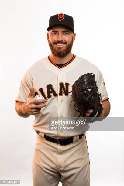 Pitcher Sam Dyson poses for a photo during the San Francisco Giants photo day on Tuesday Feb 20 2018 at Scottsdale Stadium in Scottsdale Ariz