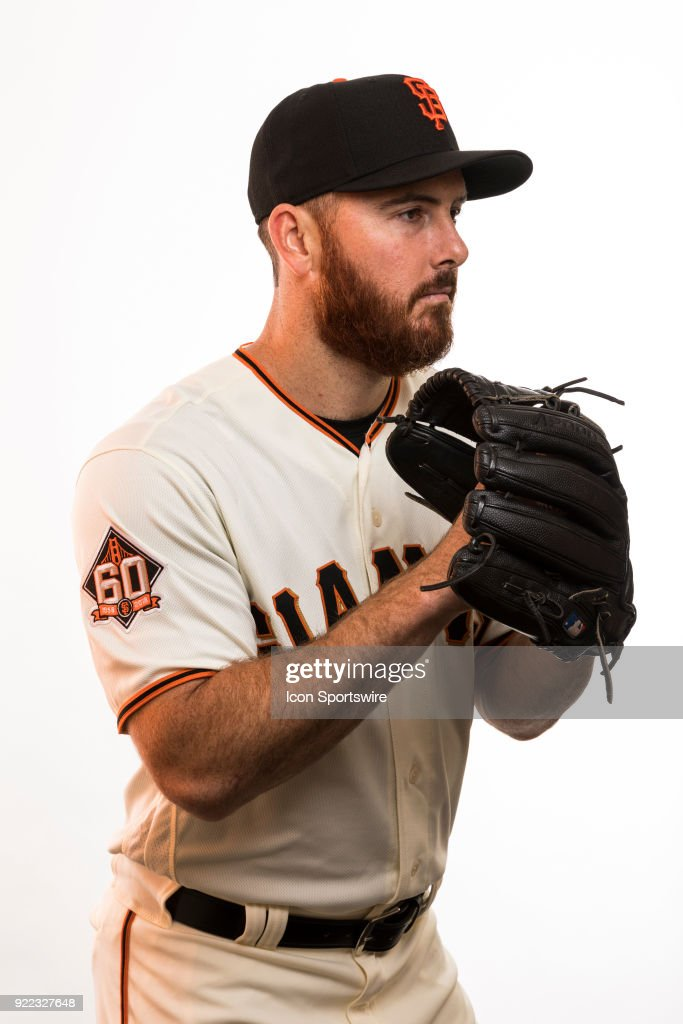 Pitcher Sam Dyson (49) poses for a photo during the San Francisco Giants photo day on Tuesday, Feb. 20, 2018 at Scottsdale Stadium in Scottsdale, Ariz.