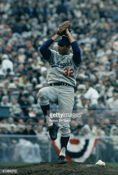 Pitcher Sandy Koufax of the Los Angeles Dodgers in his windup during the 1960s