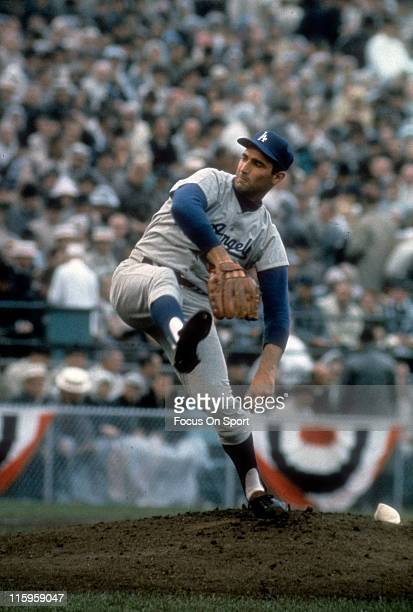 Pitcher Sandy Koufax of the Los Angeles Dodgers pitches against the Minnesota Twin in game 7 of the 1965 World Series October 14 1965 at Metropolitan...