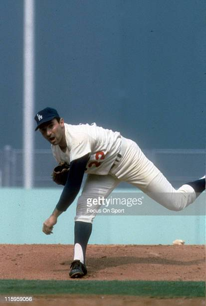 Pitcher Sandy Koufax of the Los Angeles Dodgers pitches during a Major League Baseball game circa 1965 at Dodgers Stadium in Los Angeles California...