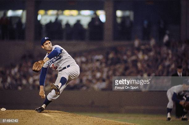 Pitcher Sandy Koufax of the Los Angeles Dodgers pitches during the 1960s