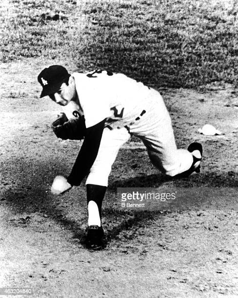 Pitcher Sandy Koufax of the Los Angeles Dodgers throws a pitch during an MLB game against the San Francisco Giants on May 11 1963 at Dodger Stadium...