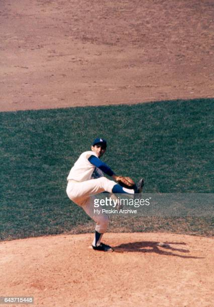 Pitcher Sandy Koufax of the Los Angeles Dodgers throws a pitch during an MLB game against the Philadelphia Phillies on June 11 1961 at the Los...