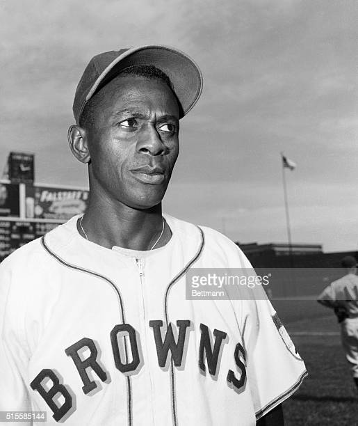Pitcher Satchel Paige in a St. Louis Browns uniform.