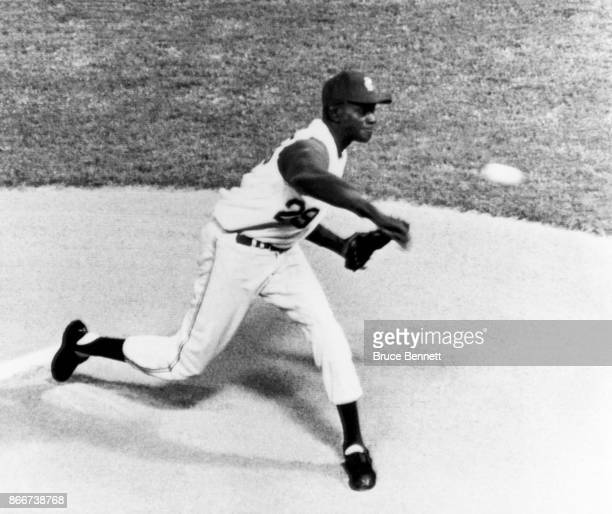 Pitcher Satchel Paige of the Kansas City Athletics throws the pitch during an MLB game against the Boston Red Sox on September 25, 1965 at Municipal...