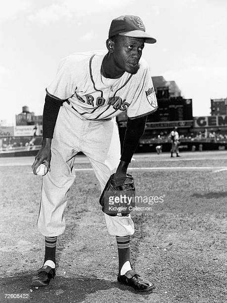 Pitcher Satchel Paige, of the St. Louis Browns, poses for a portrait prior to a game against the New York Yankees in 1951 at Yankee Stadium in New...