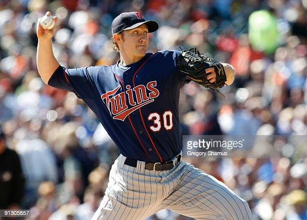 Pitcher Scott Baker of the Minnesota Twins on the mound against the Detroit Tigers during the game on October 1, 2009 at Comerica Park in Detroit,...