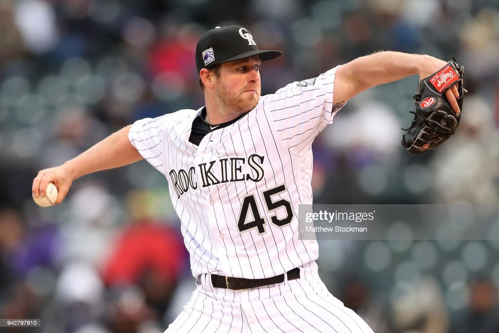 Pitcher Scott Oberg #45 of the Colorado Rockies throws in the eighth inning against the Atlanta Braves at Coors Field on April 6, 2018 in Denver, Colorado.