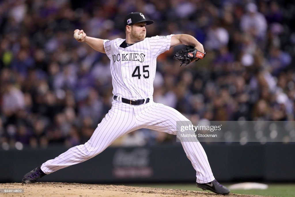 Pitcher Scott Oberg #45 of the Colorado Rockies throws in the ninth inning against the San Diego Padres at Coors Field on April 10, 2018 in Denver, Colorado.