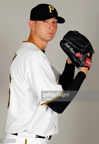 Pitcher Scott Olsen of the Pittsburgh Pirates poses for a photo during photo day at Pirate City on February 20 2011 in Bradenton Florida