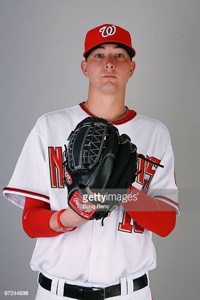 Pitcher Scott Olsen of the Washington Nationals poses during photo day at Space Coast Stadium on February 28 2010 in Viera Florida