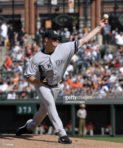 Pitcher Sean Henn of the New York Yankees throws a pitch during a game on September 30 2007 against the Baltimore Orioles at Camden Yards in...