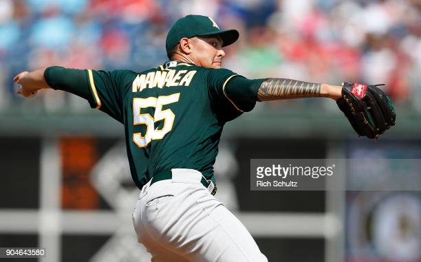 Pitcher Sean Manaea of the Oakland Athletics delivers a pitch against the Philadelphia Phillies during the first inning of a game at Citizens Bank...