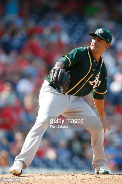 Pitcher Sean Manaea of the Oakland Athletics delivers a pitch against the Philadelphia Phillies during a game at Citizens Bank Park on September 17...