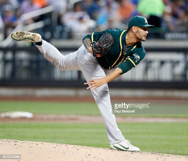Pitcher Sean Manaea of the Oakland Athletics pitches during an interleague MLB baseball game against the New York Mets on July 22 2017 at CitiField...