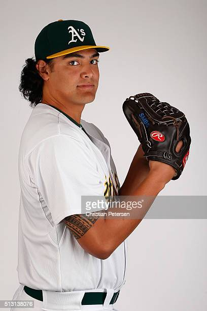 Pitcher Sean Manaea of the Oakland Athletics poses for a portrait during the spring training photo day at HoHoKam Stadium on February 29 2016 in Mesa...