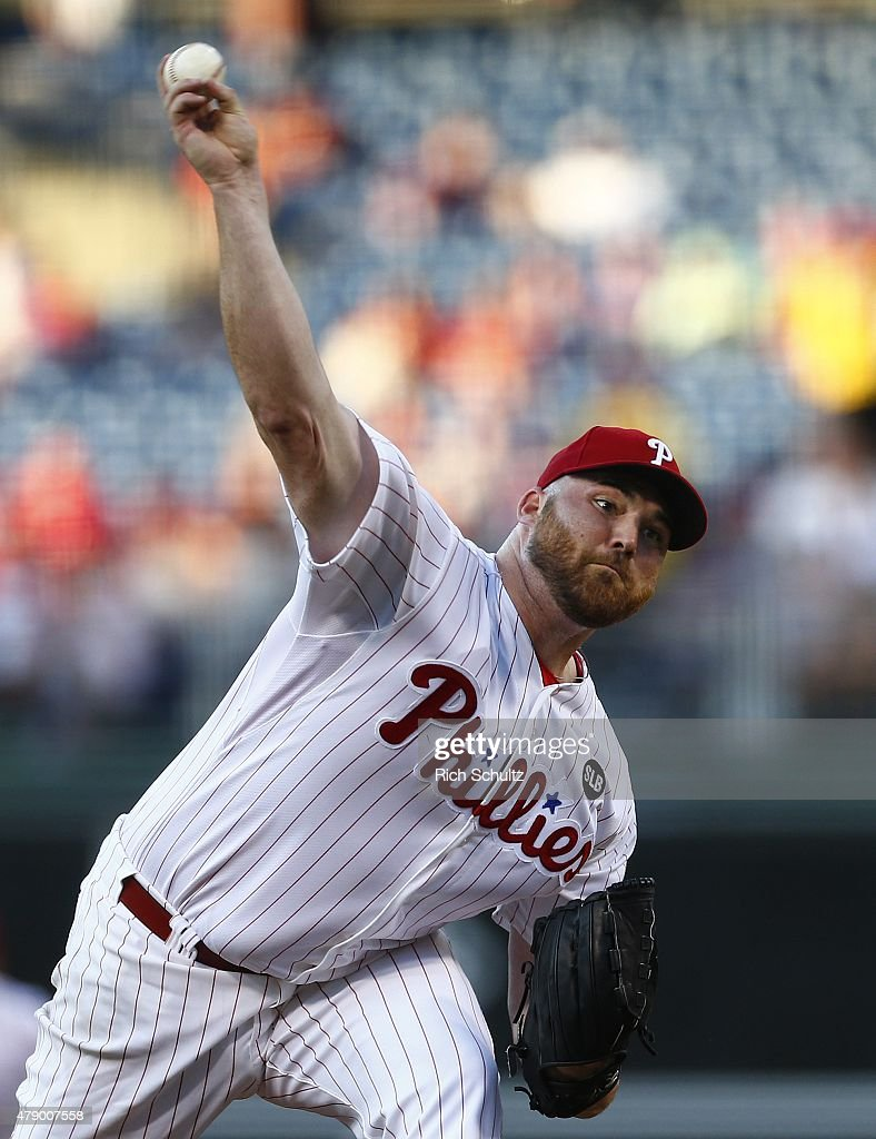 Pitcher Sean O'Sullivan #47 of the Philadelphia Phillies delivers a pitch against the Milwaukee Brewers during the second inning of a MLB game at Citizens Bank Park on June 29, 2015 in Philadelphia, Pennsylvania.