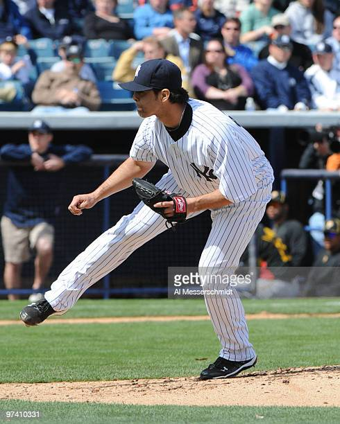 Pitcher Sergio Mitre of the New York Yankees throws against the Pittsburgh Pirates March 3, 2010 at the George M. Steinbrenner Field in Tampa,...