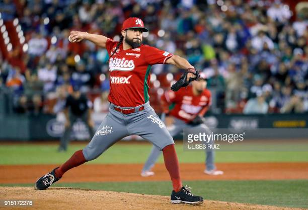 Pitcher Sergio Mitre of Tomateros de Culiacan of Mexico throws against Aguilas Cibaenas of Republica Dominicana during the Caribbean Baseball Series...
