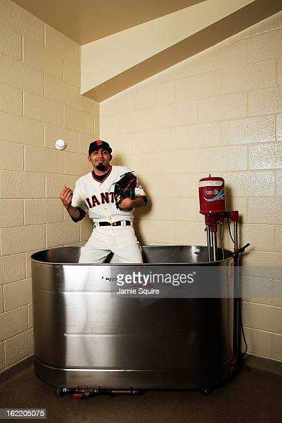 Pitcher Sergio Romo poses for a portrait during San Francisco Giants Photo Day on February 20 2013 in Scottsdale Arizona