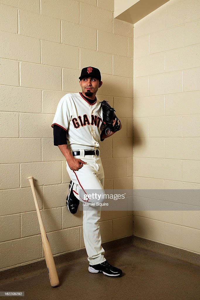 Pitcher Sergio Romo #54 poses for a portrait during San Francisco Giants Photo Day on February 20, 2013 in Scottsdale, Arizona.