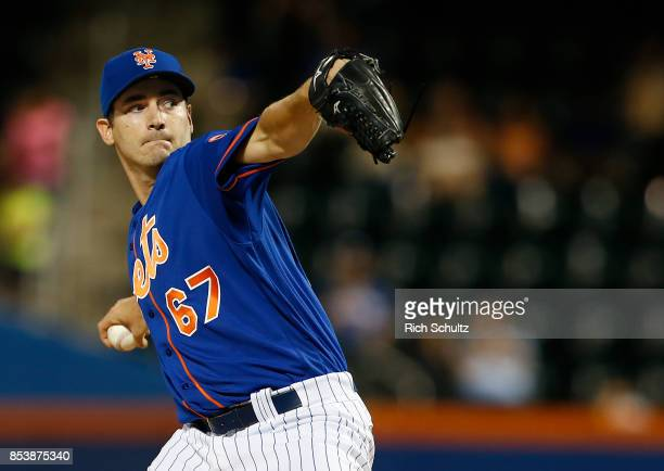 Pitcher Seth Lugo of the New York Mets delivers a pitch against the Atlanta Braves during the first inning in the second game of a doubleheader at...