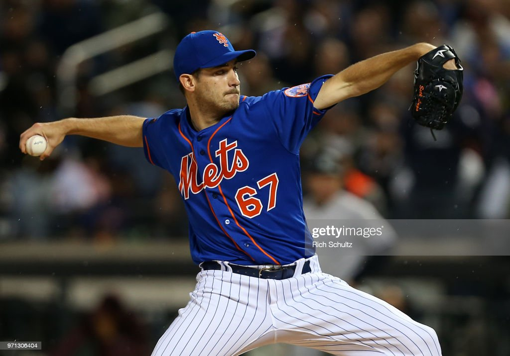 Pitcher Seth Lugo #67 of the New York Mets delivers a pitch against the New York Yankees during the second inning of a game at Citi Field on June 10, 2018 in the Flushing neighborhood of the Queens borough of New York City. The Mets defeated the Yankees 2-0.