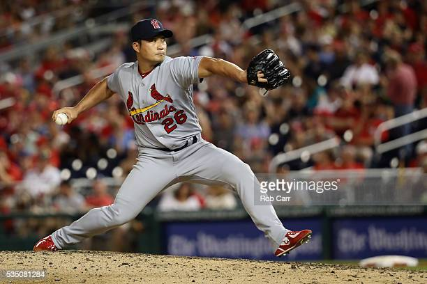 Pitcher Seung Hwan Oh of the St Louis Cardinals throws to a Washington Nationals batter in the eighth inning at Nationals Park on May 28 2016 in...