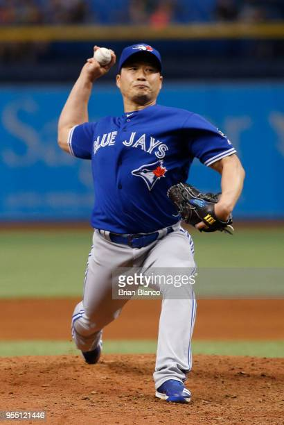 Pitcher Seung Hwan Oh of the Toronto Blue Jays pitches during the sixth inning of a game against the Tampa Bay Rays on May 5 2018 at Tropicana Field...