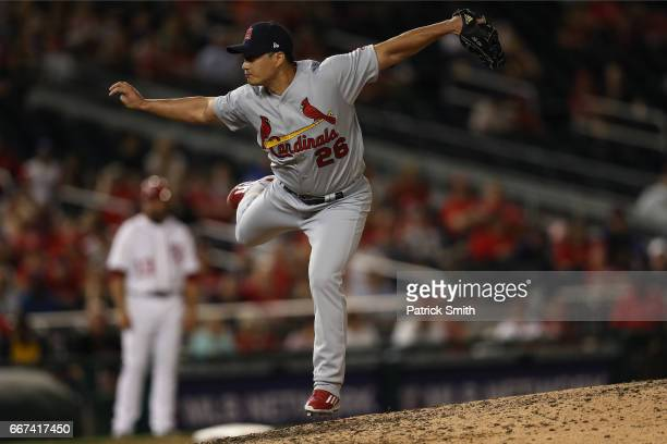 Pitcher SeungHwan Oh of the St Louis Cardinals works the eighth inning against the Washington Nationals at Nationals Park on April 11 2017 in...