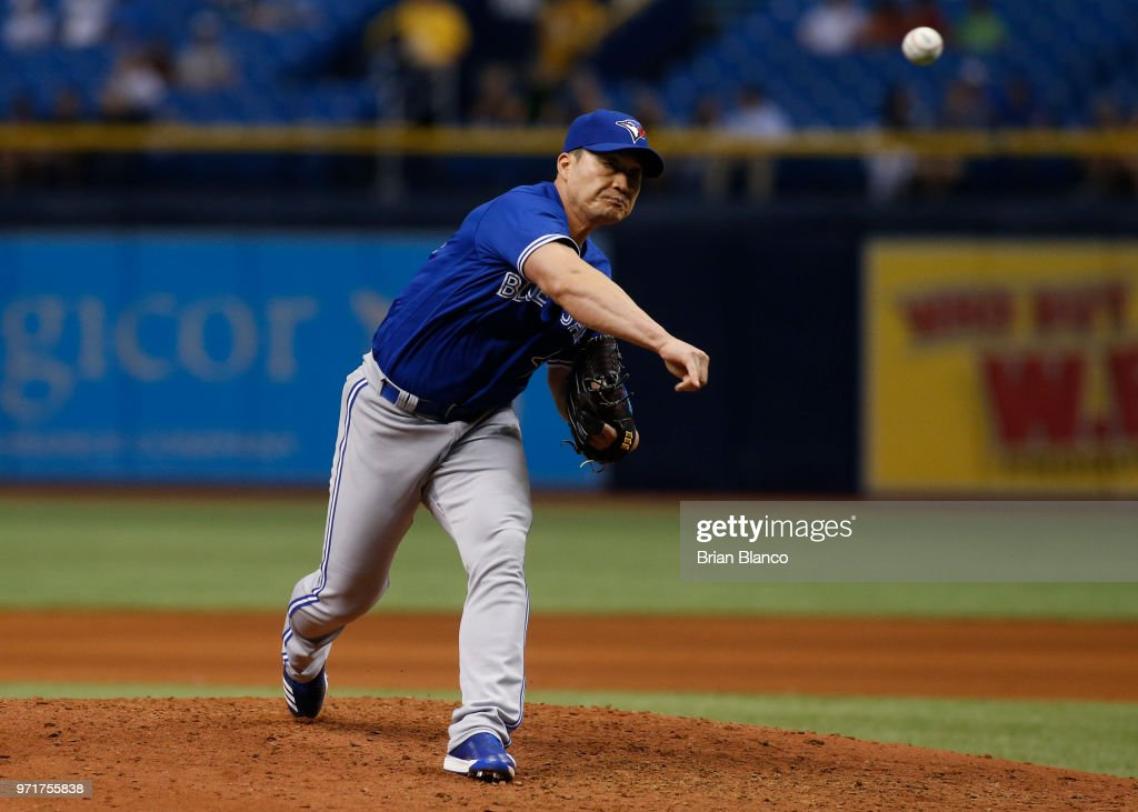 Pitcher Seunghwan Oh #22 of the Toronto Blue Jays pitches during the seventh inning of a game against the Tampa Bay Rays on June 11, 2018 at Tropicana Field in St. Petersburg, Florida.