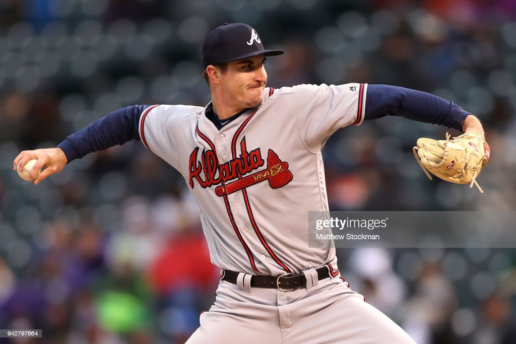 Pitcher Shane Carle #51 of the Atlanta Braves throws in the ninth inning against the Colorado Rockies at Coors Field on April 6, 2018 in Denver, Colorado.